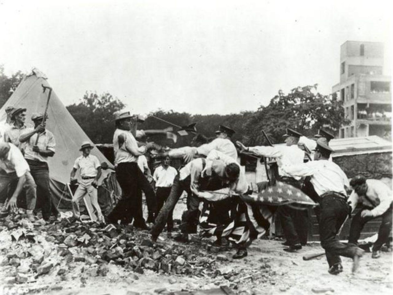 1932 年华盛顿 DC,收到驱赶的退伍老兵。