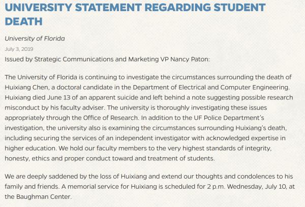 7 月 3 日,佛罗里达大学发表声明称正对事件展开调查。