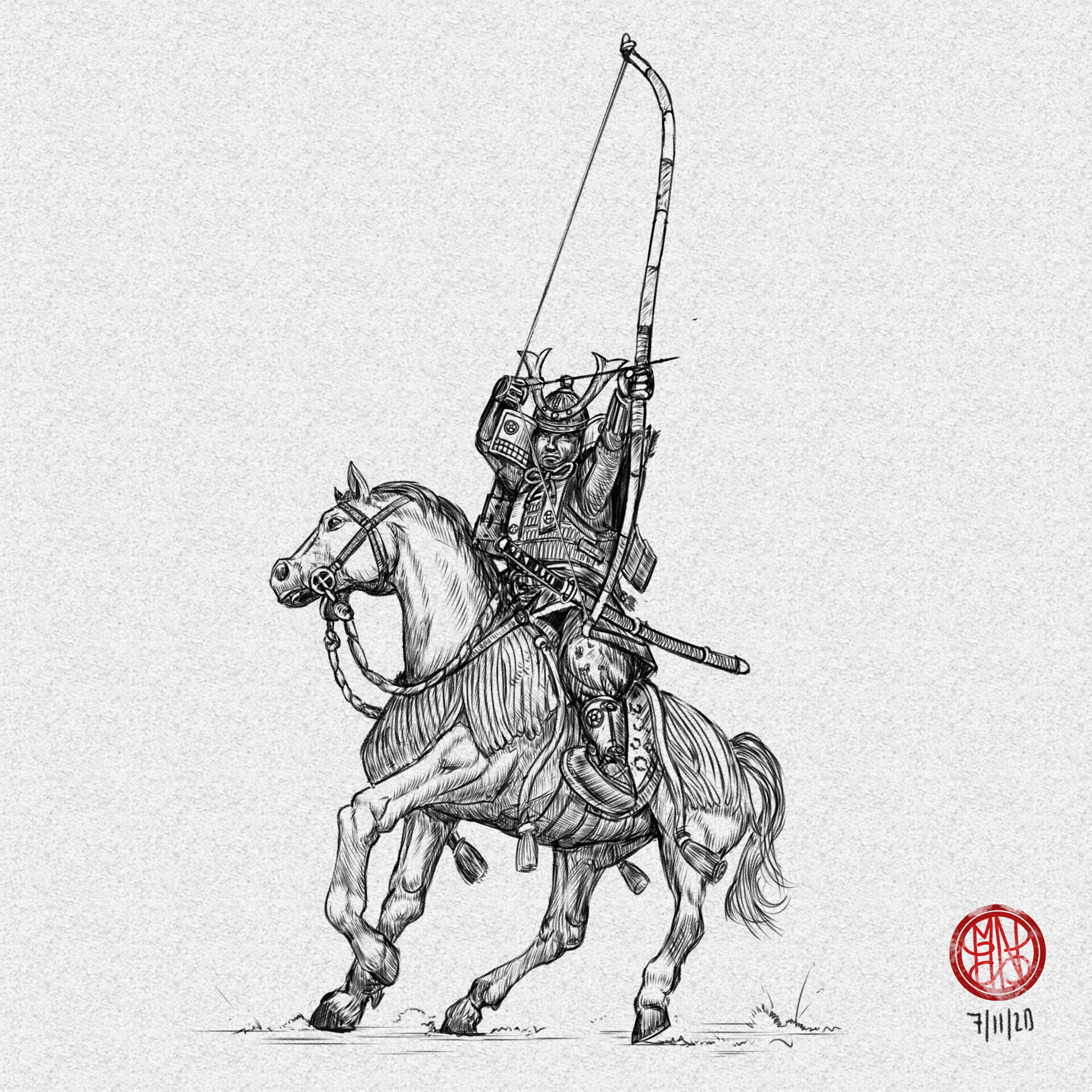 YABUSAME   Mounted archer with Yumi